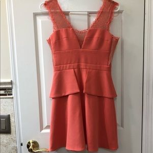 Coral BCBG dress with lace detailing